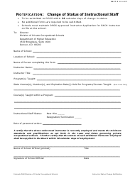 "Form INST-3 ""Change of Status of Instructional Staff"" - Colorado"