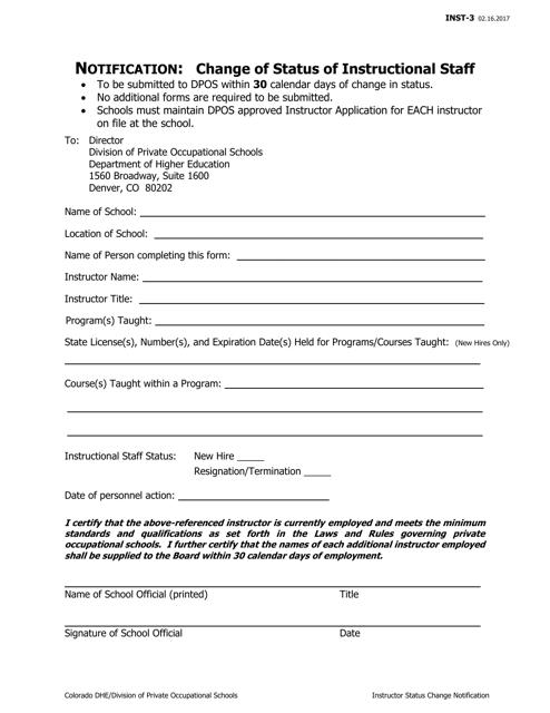 Form INST-3  Printable Pdf