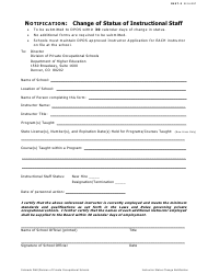 Form INST-3 Change of Status of Instructional Staff - Colorado