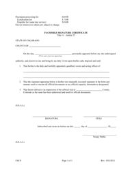 """""""Facsimile Signature Certificate Form"""" - Colorado"""