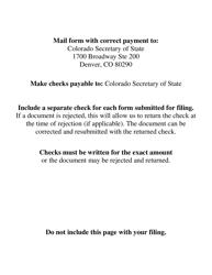 """""""Facsimile Signature Certificate Form"""" - Colorado, Page 2"""