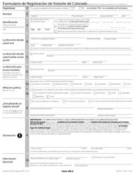 """Formulario 100-S """"Formulario De Registracion De Votante De Colorado"""" - Colorado (Spanish)"""