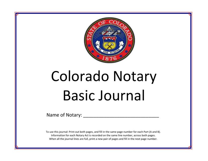 """Colorado Notary Basic Journal"" - Colorado Download Pdf"