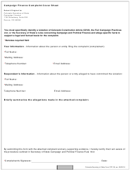 Form CPF-39 Campaign Finance Complaint Cover Sheet - Colorado