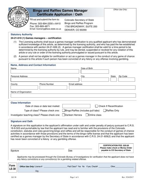 Form LE-38  Printable Pdf