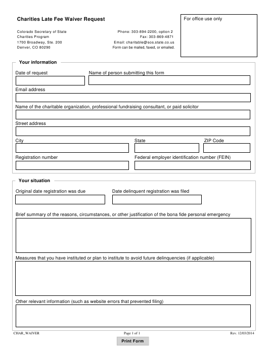 """""""Charities Late Fee Waiver Request Form"""" - Colorado Download Pdf"""