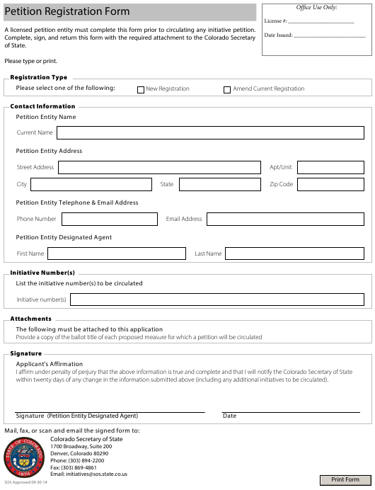 """Petition Registration Form"" - Colorado Download Pdf"