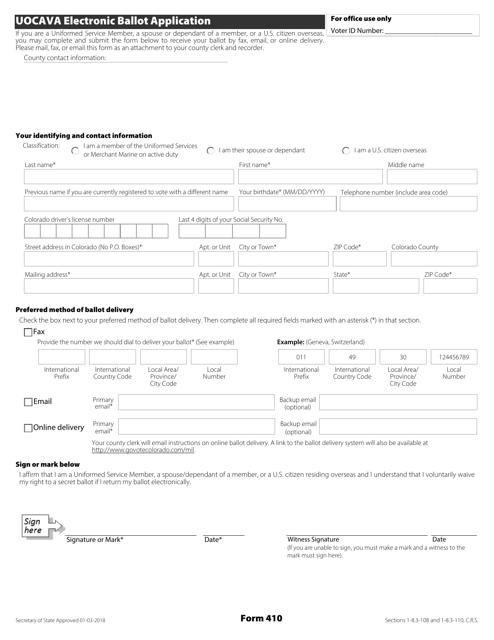 Form 410  Printable Pdf
