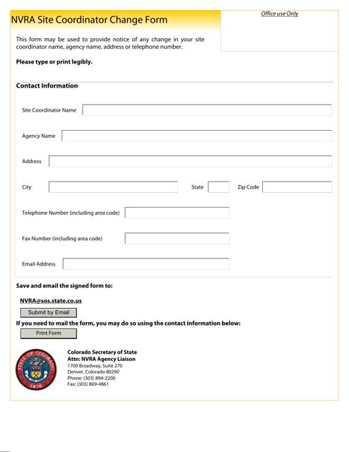 """Nvra Site Coordinator Change Form"" - Colorado Download Pdf"