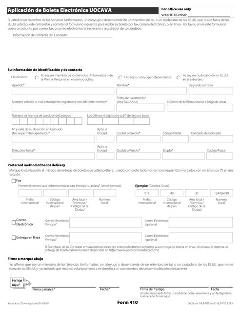 Formulario 410  Printable Pdf