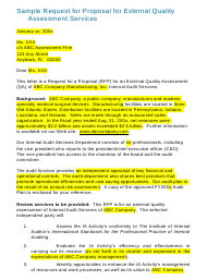 "Sample ""Request Letter for Proposal for External Quality Assessment Services"""