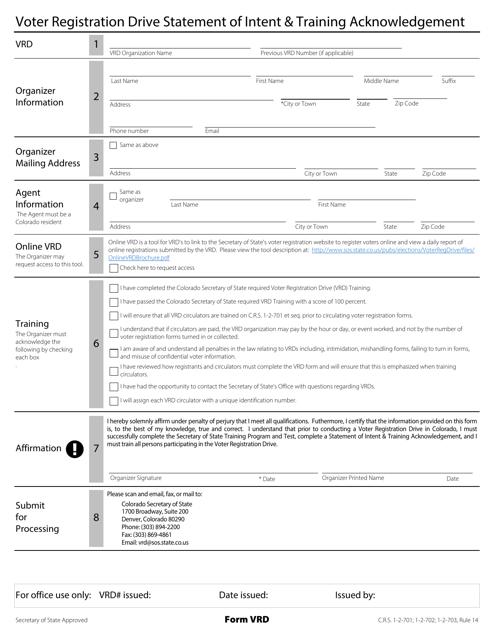 Form VRD  Printable Pdf