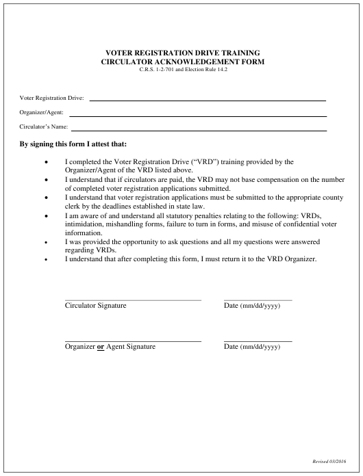 """Voter Registration Drive Training Circulator Acknowledgement Form"" - Colorado Download Pdf"