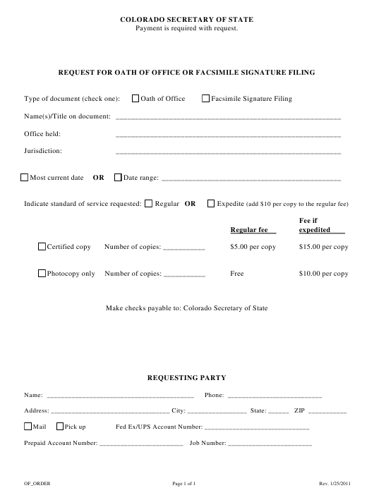 """""""Request for Oath of Office or Facsimile Signature Filing"""" - Colorado Download Pdf"""