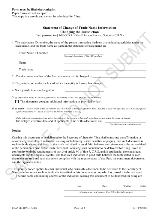 """Statement of Change of Trade Name Information Changing the Jurisdiction - Sample"" - Colorado Download Pdf"