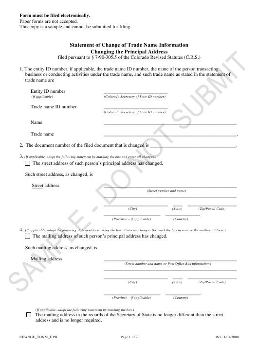 """Statement of Change of Trade Name Information Changing the Principal Address - Sample"" - Colorado Download Pdf"