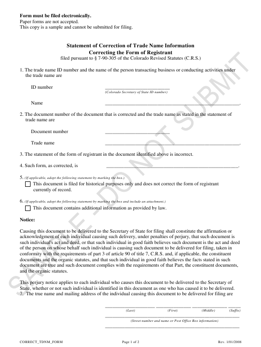 """Statement of Correction of Trade Name Information Correcting the Form of Registrant - Sample"" - Colorado Download Pdf"