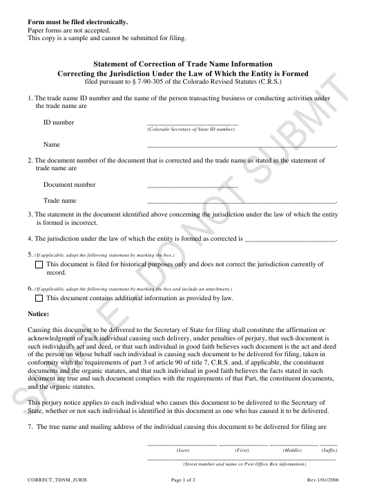 """Statement of Correction of Trade Name Information Correcting the Jurisdiction Under the Law of Which the Entity Is Formed - Sample"" - Colorado Download Pdf"