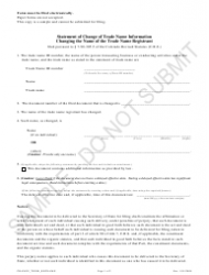 """""""Statement of Change of Trade Name Information Changing the Name of the Trade Name Registrant - Sample"""" - Colorado"""