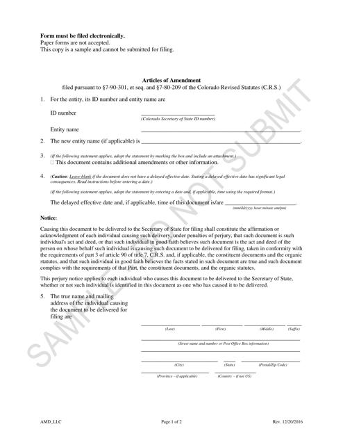 """Articles of Amendment - Limited Liability Companies - Sample"" - Colorado Download Pdf"