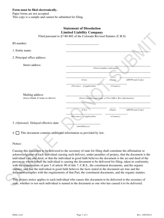 """Statement of Dissolution - Limited Liability Companies - Sample"" - Colorado Download Pdf"