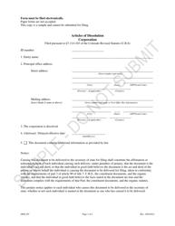 """Articles of Dissolution - Profit Corporations - Sample"" - Colorado"