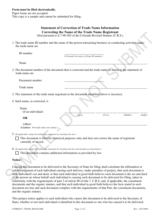 """""""Statement of Correction of Trade Name Information Correcting the Name of the Trade Name Registrant - Sample"""" - Colorado Download Pdf"""