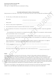 """""""Amended and Restated Articles of Incorporation - Nonprofit Corporations - Sample"""" - Colorado"""
