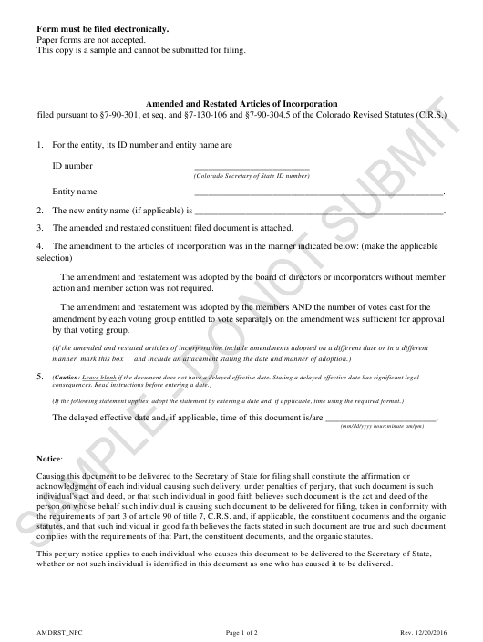 """Amended and Restated Articles of Incorporation - Nonprofit Corporations - Sample"" - Colorado Download Pdf"