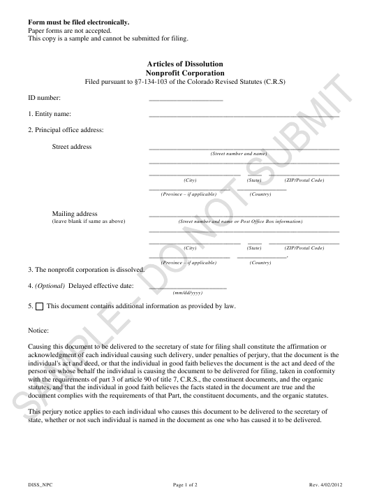 """Articles of Dissolution - Nonprofit Corporations - Sample"" - Colorado Download Pdf"