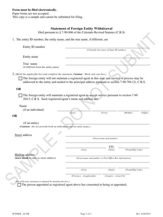 """""""Statement of Foreign Entity Withdrawal - Sample"""" - Colorado Download Pdf"""
