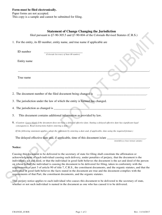 """Statement of Change Changing the Jurisdiction - Sample"" - Colorado Download Pdf"