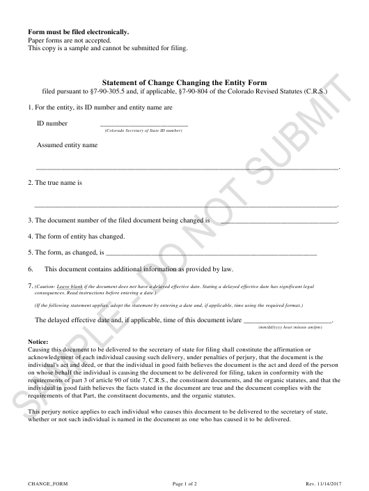"""""""Statement of Change Changing the Entity Form - Sample"""" - Colorado Download Pdf"""