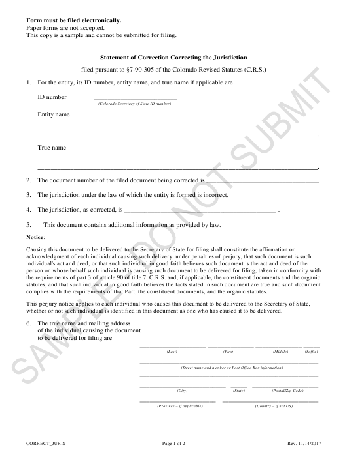 """Statement of Correction Correcting the Jurisdiction - Sample"" - Colorado Download Pdf"