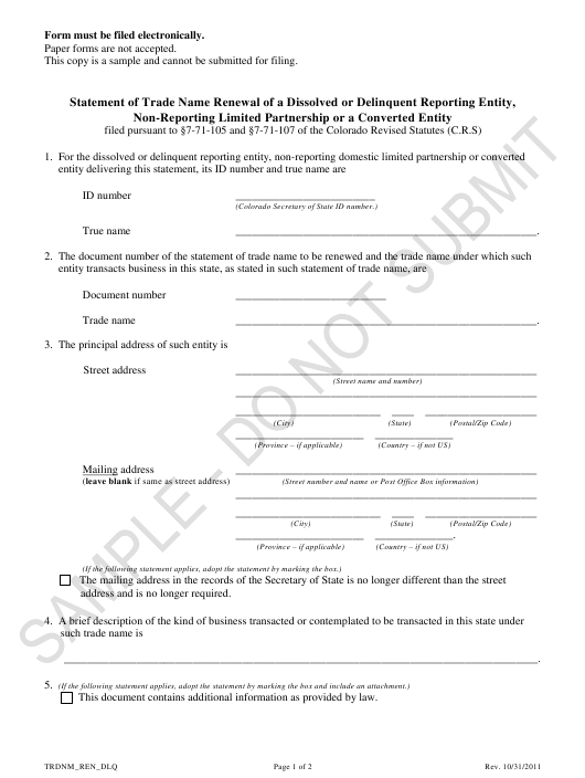 """Statement of Trade Name Renewal of a Dissolved or Delinquent Reporting Entity, Non-reporting Limited Partnership or a Converted Entity - Sample"" - Colorado Download Pdf"