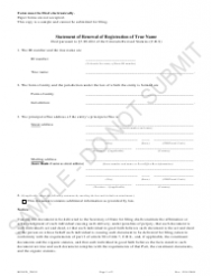 """Statement of Renewal of Registration of True Name - Sample"" - Colorado"