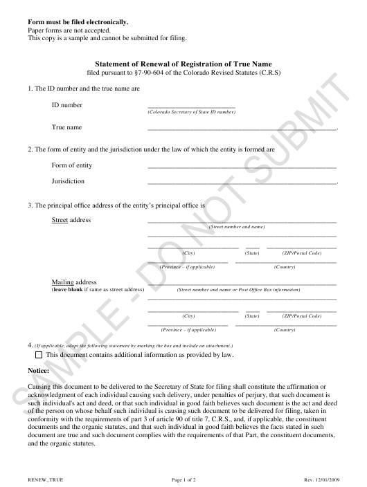 """Statement of Renewal of Registration of True Name - Sample"" - Colorado Download Pdf"