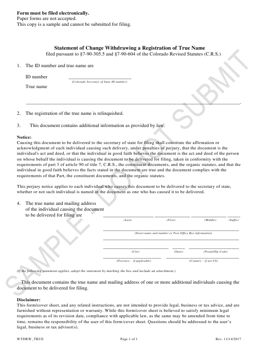 """Statement of Change Withdrawing a Registration of True Name - Sample"" - Colorado Download Pdf"