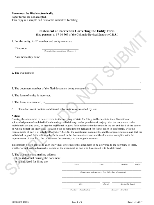 """Statement of Correction Correcting the Entity Form - Sample"" - Colorado Download Pdf"