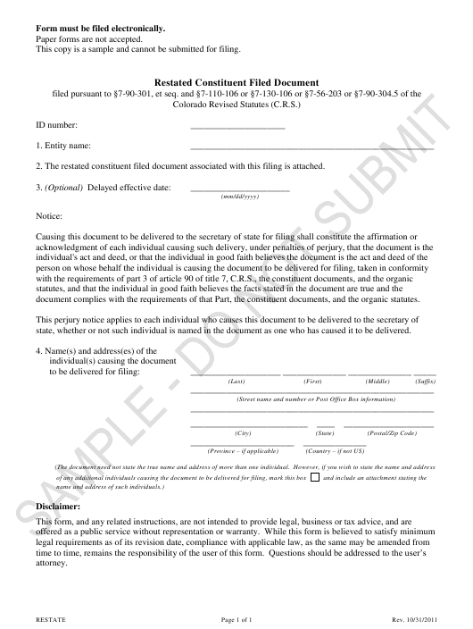 """Restated Constituent Filed Document - Sample"" - Colorado Download Pdf"