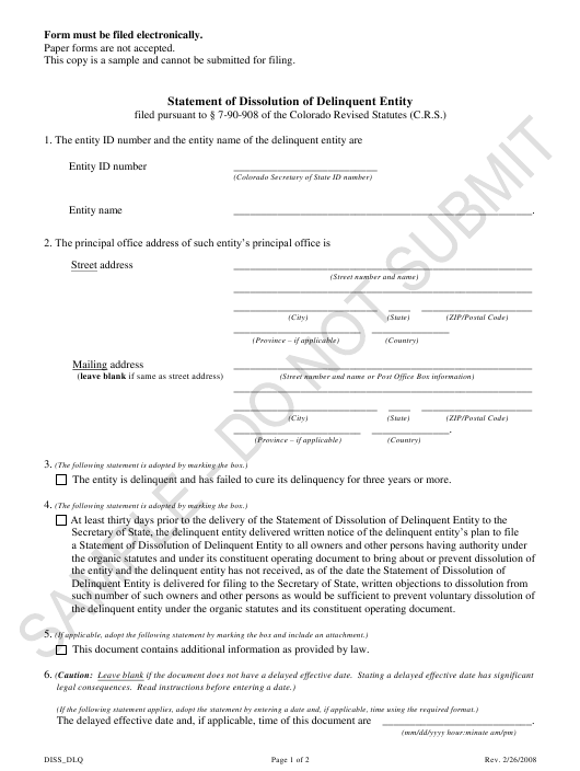 """""""Statement of Dissolution of Delinquent Entity - Sample"""" - Colorado Download Pdf"""