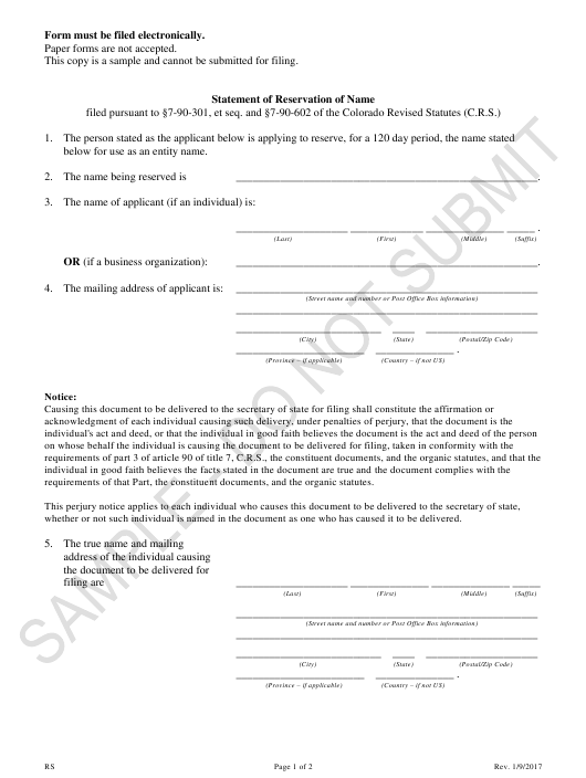 """Statement of Reservation of Name - Sample"" - Colorado Download Pdf"