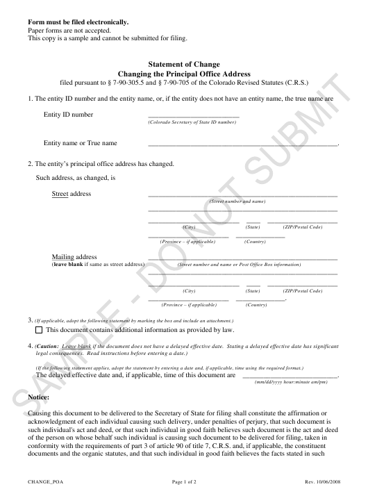 """Statement of Change Changing the Principal Office Address - Sample"" - Colorado Download Pdf"