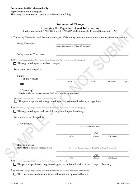 """""""Statement of Change Changing the Registered Agent Information - Sample"""" - Colorado Download Pdf"""