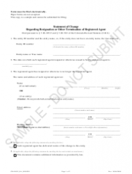 """""""Statement of Change Regarding Resignation or Other Termination of Registered Agent - Sample"""" - Colorado"""