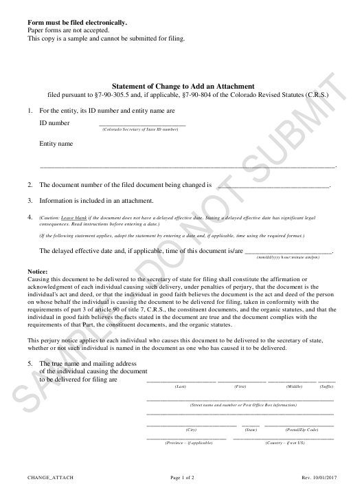 """Statement of Change to Add an Attachment - Sample"" - Colorado Download Pdf"