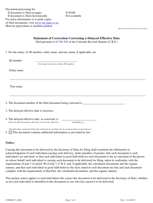 """""""Statement of Correction Correcting a Delayed Effective Date"""" - Colorado Download Pdf"""
