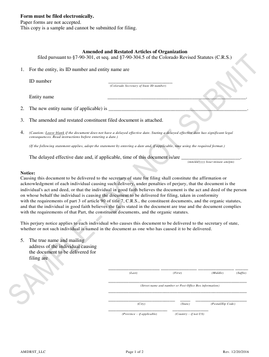 """Amended and Restated Articles of Organization - Limited Liability Companies - Sample"" - Colorado Download Pdf"