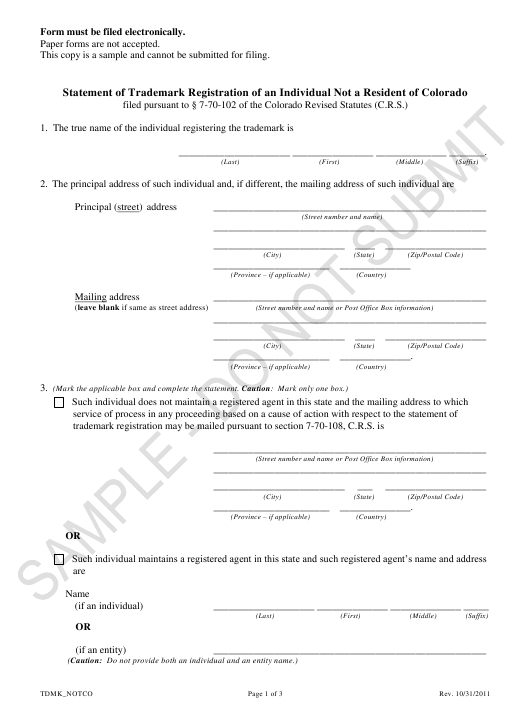 """""""Statement of Trademark Registration of an Individual Not a Resident of Colorado - Sample"""" - Colorado Download Pdf"""