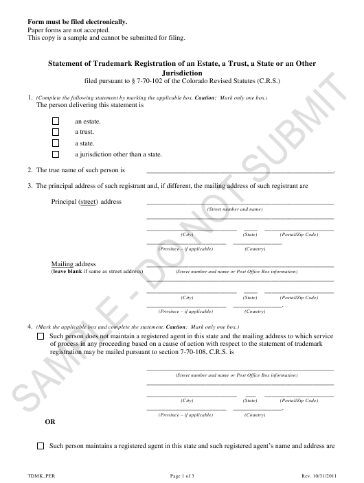 """Statement of Trademark Registration of an Estate, a Trust, a State or an Other Jurisdiction - Sample"" - Colorado Download Pdf"